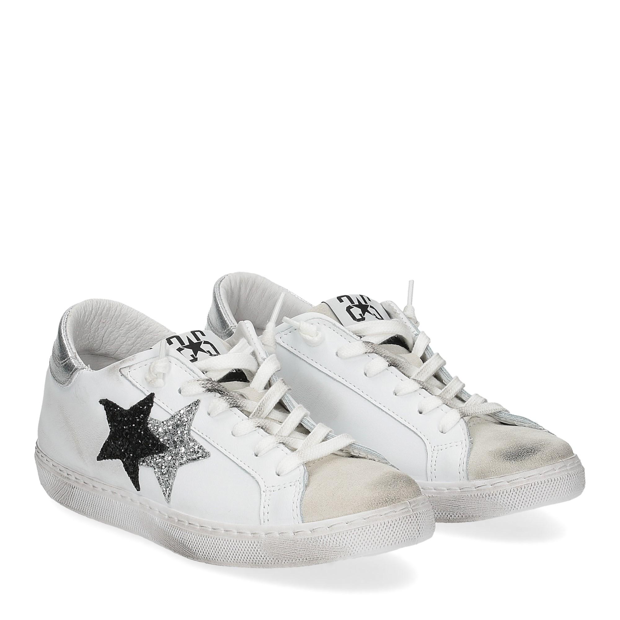 2Star 2814 sneaker bianco glitter nero