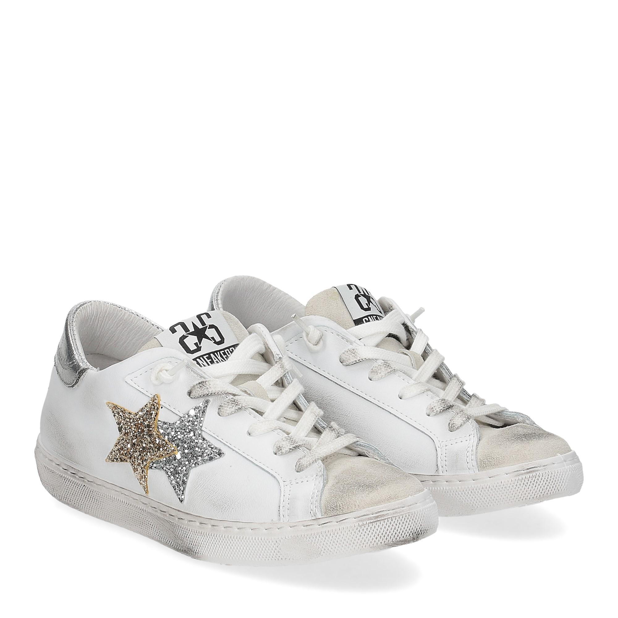 2Star 2817 sneaker bianco glitter oro