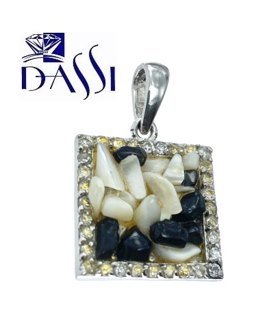 Ciondolo in argento  quadrato con zirconi, madre perla e onice