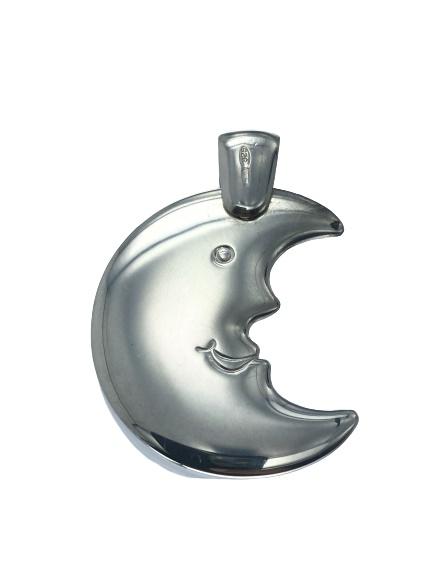 Ciondolo Bondi a forma di mezza luna umanizzata con faccia in argento massiccio