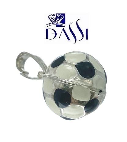 Ciondolo a forma di pallone da calcio in argento 925.