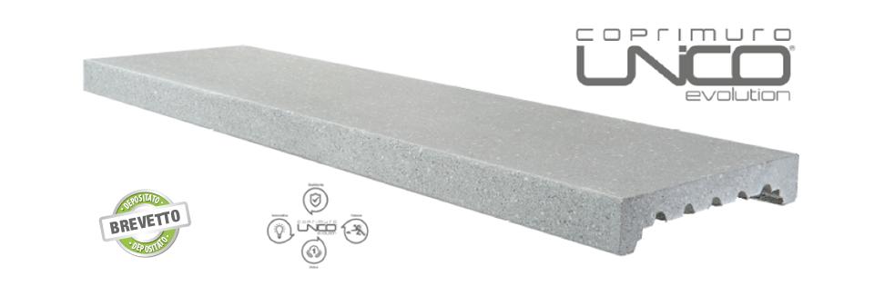Imer coprimuro evolutione in cemento levigato bianco 24cm(larghezza interna)x100cm