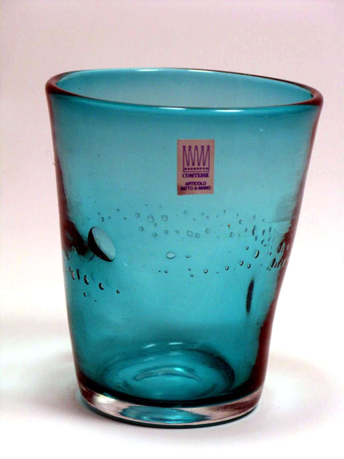 Bicchiere colorato con bolle TURCHESE Samoa