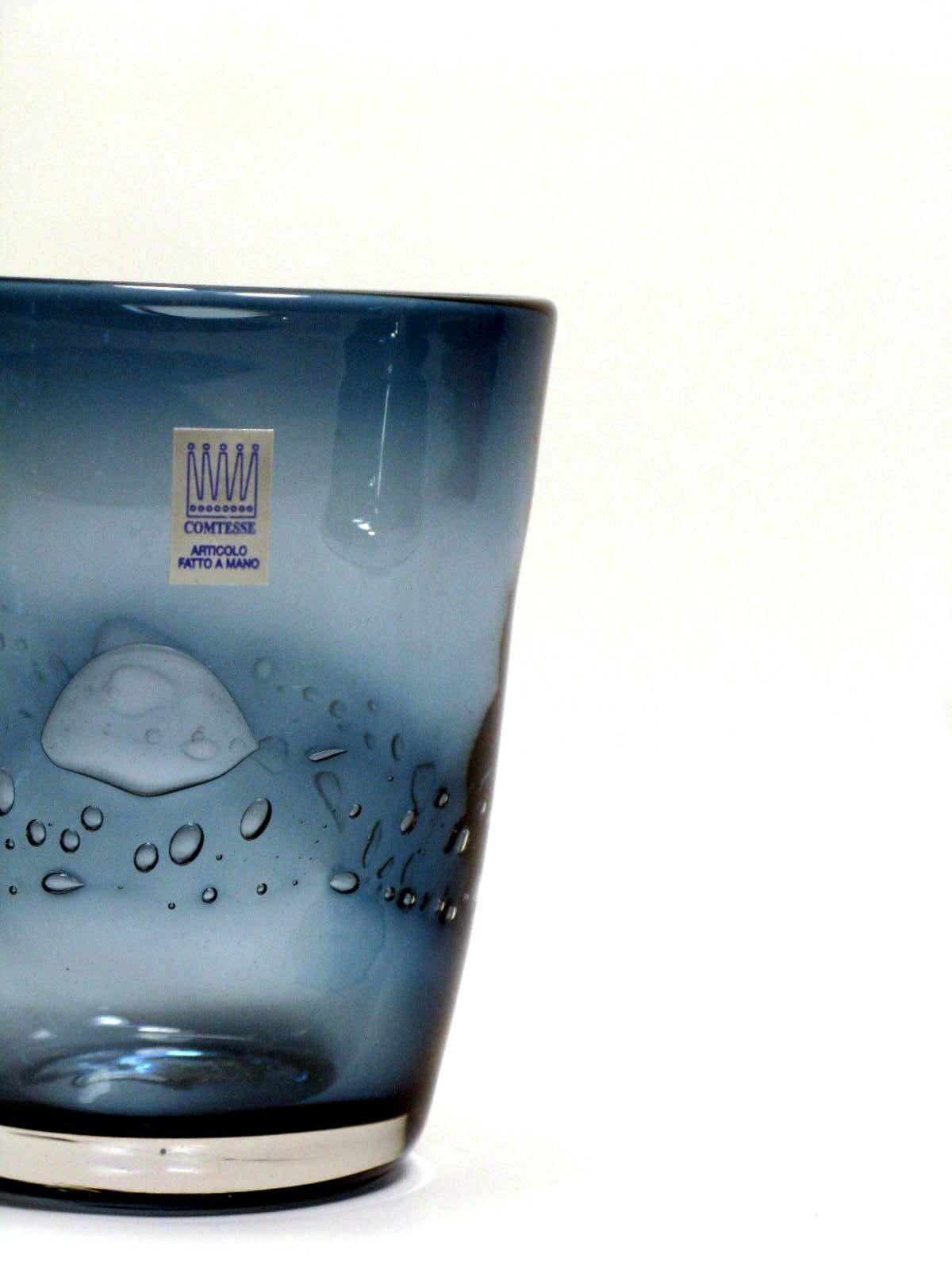 Bicchiere colorato con bolle BLU INDIGO Samoa