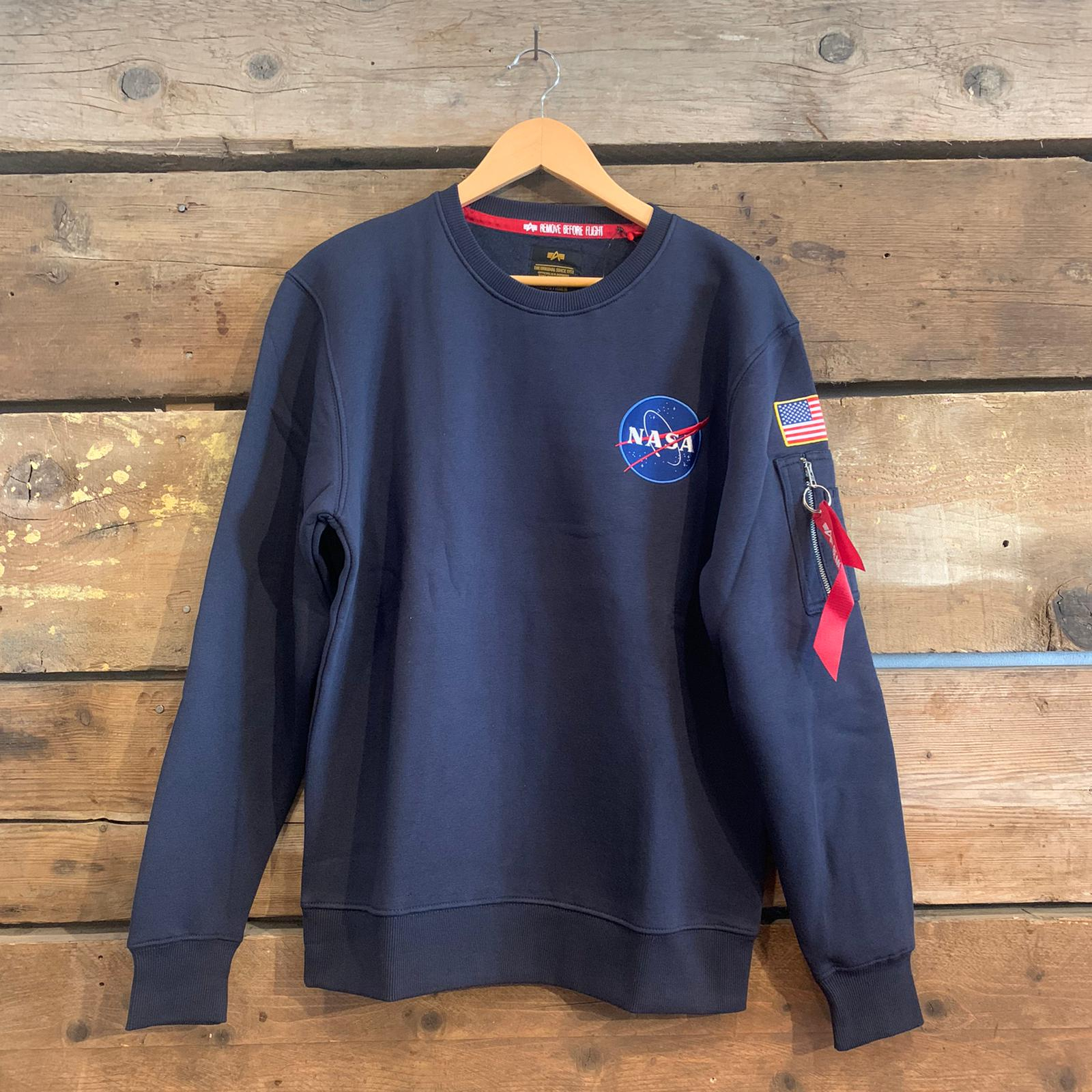 Felpa Alpha Industries Nasa a Girocollo Blu Navy