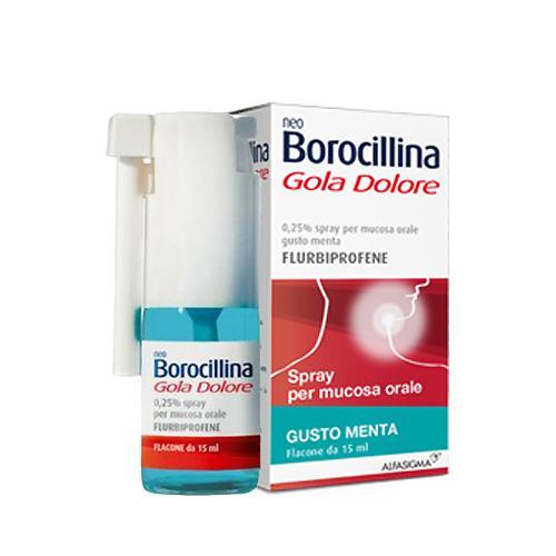 NeoBorocillina Gola Dolore 37,5 mg - Flaconcino spray 15 ml gusto Menta