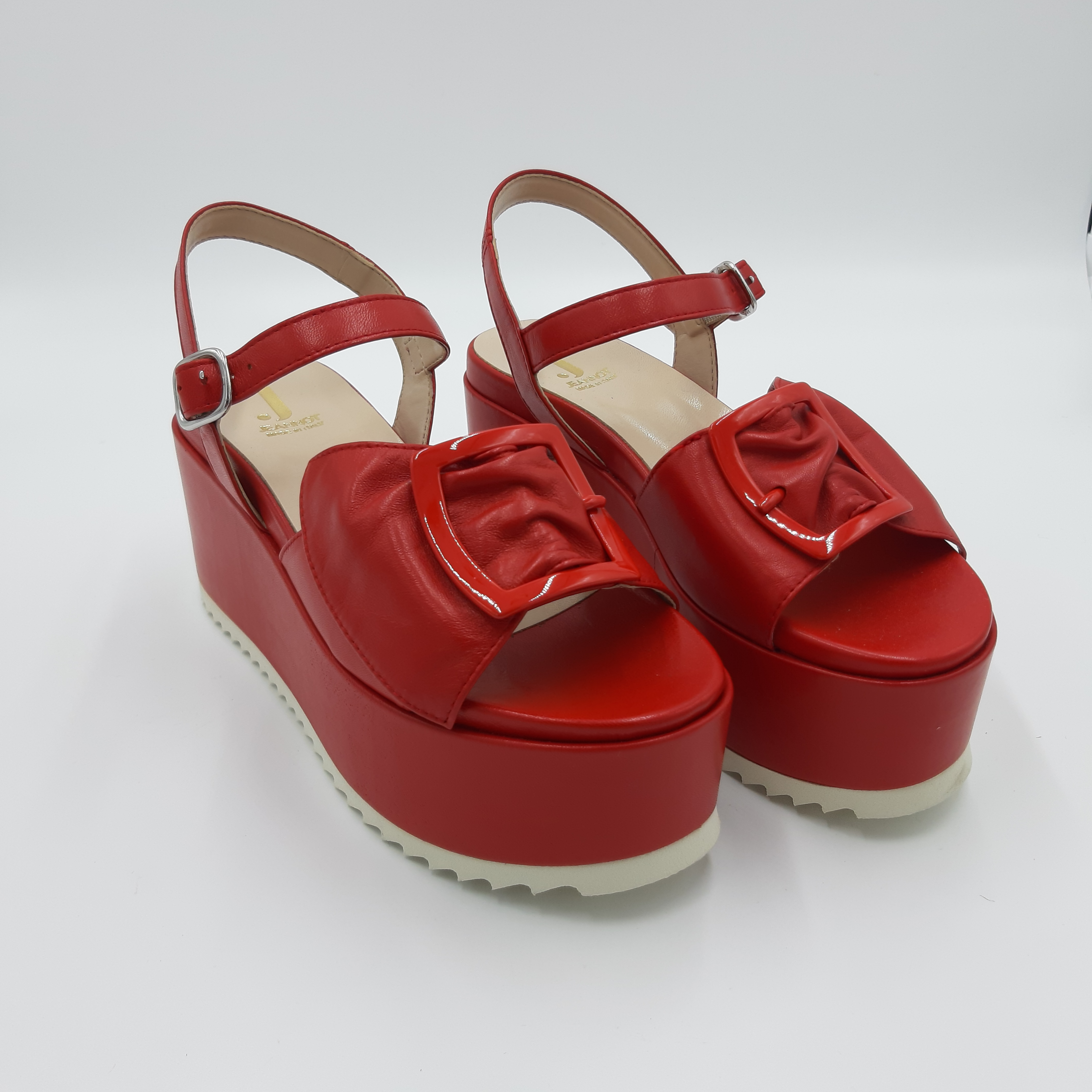 Sandali zeppa alta rossi Jeannot