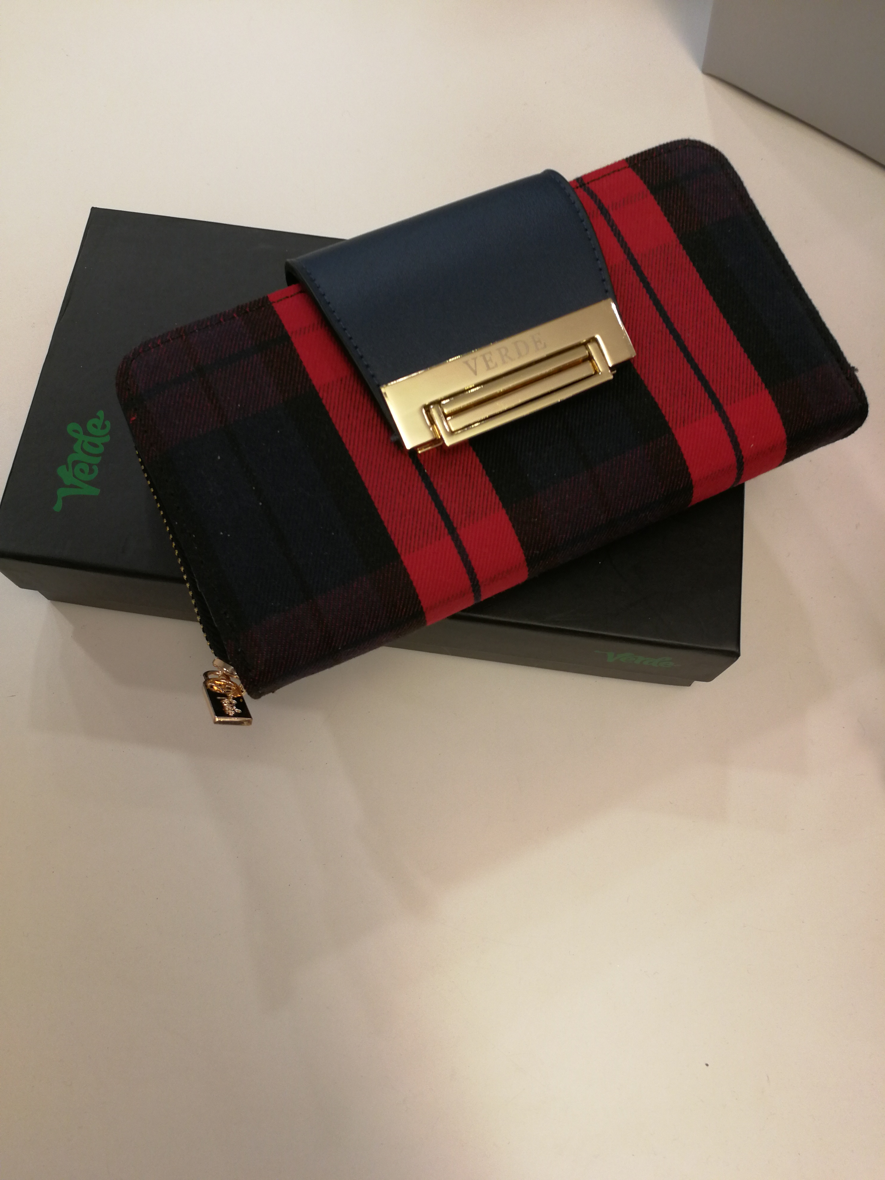 Portafoglio scozzese rosso e blu | Vendita online Portafogli donna