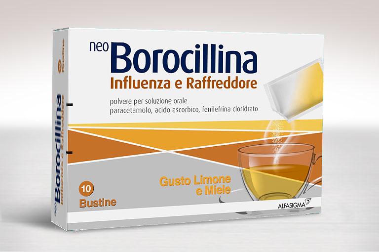 NeoBorocillina Influenza e Raffreddore Bustine 10 bustine- aromadi limone e miele