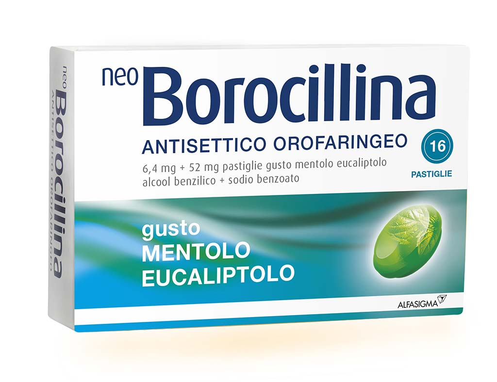 NeoBorocillina Antisettico Orofaringeo 6,4 mg+52mg-Mentolo ed Eucalipto 16 Pastiglie