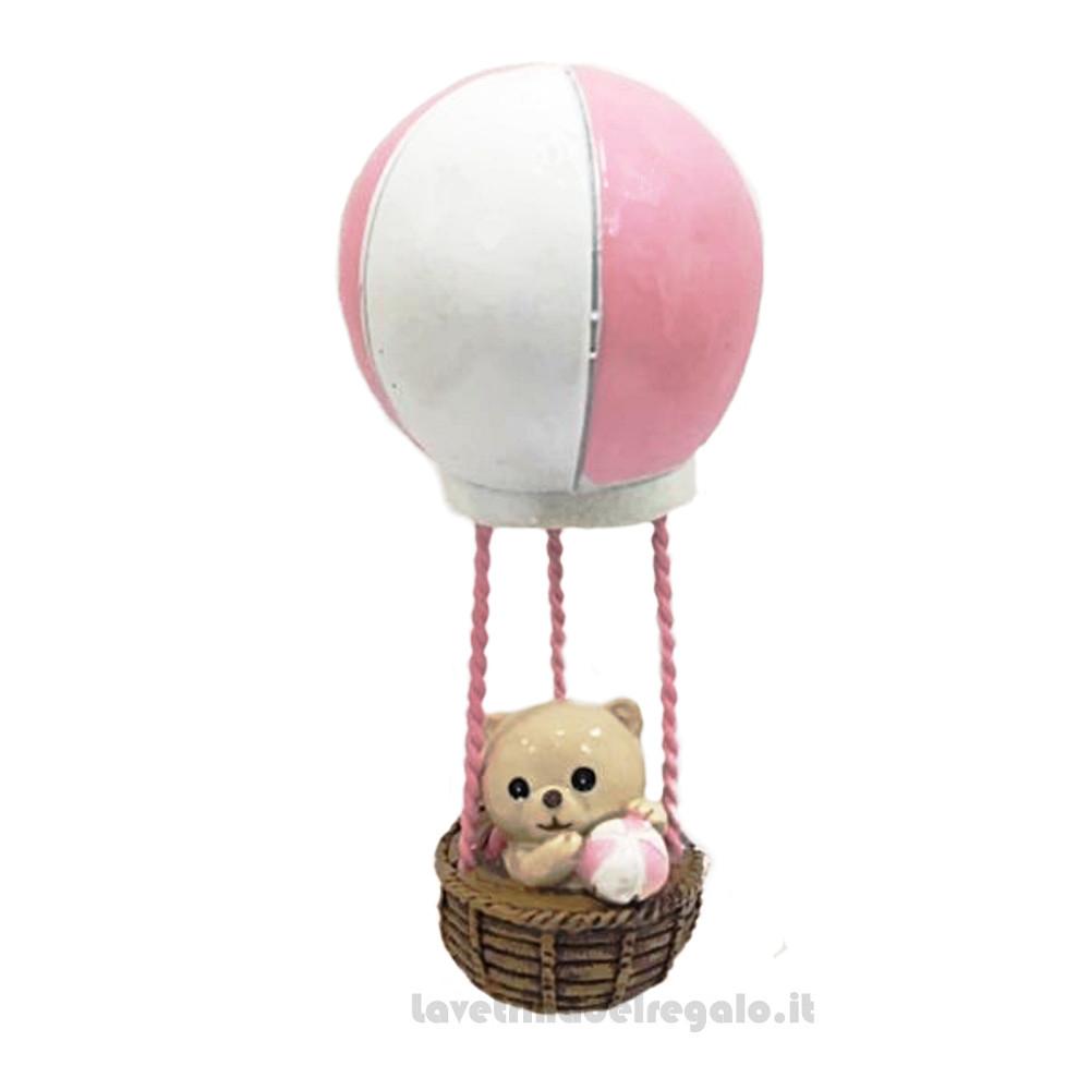 Mongolfiera orsetto Rosa con palla 11.5 cm - Bomboniera battesimo bimba