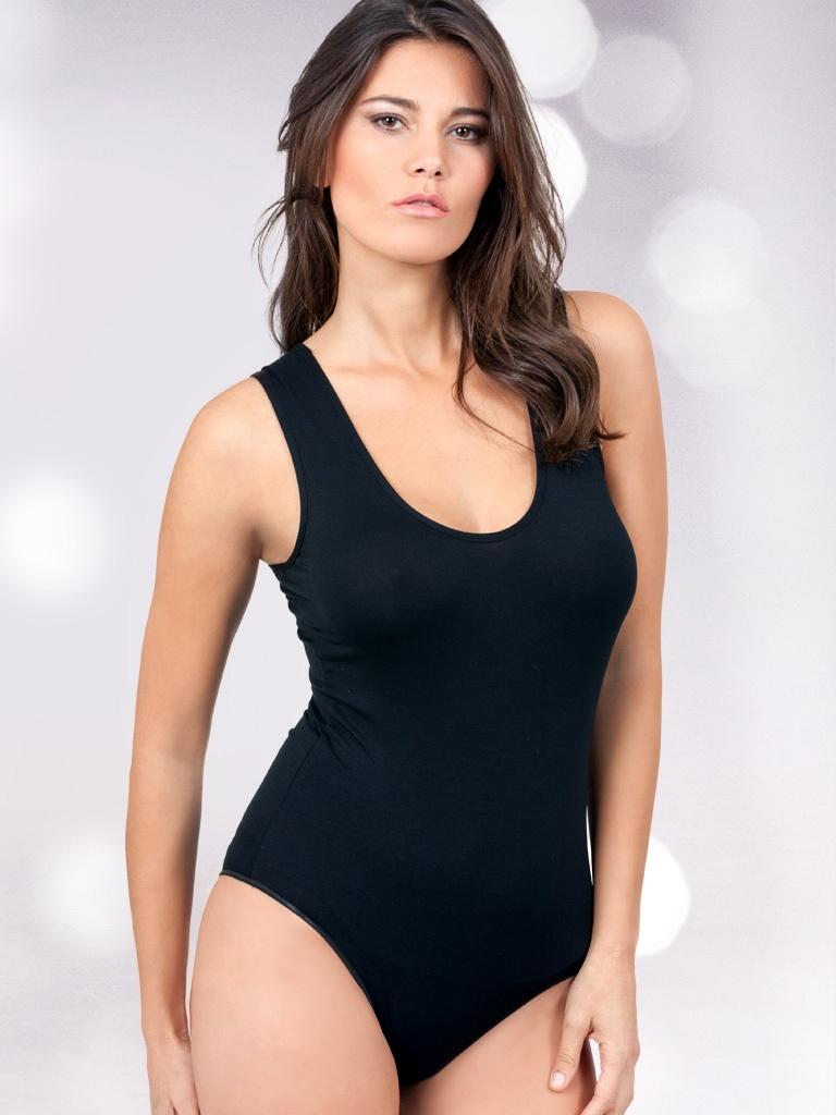 Body donna in viscosa spalla larga con bordo liscio EGI