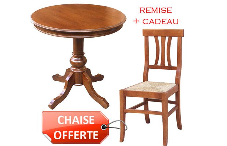 PROMO ! Combo table Ø80 cm + chaise offerte