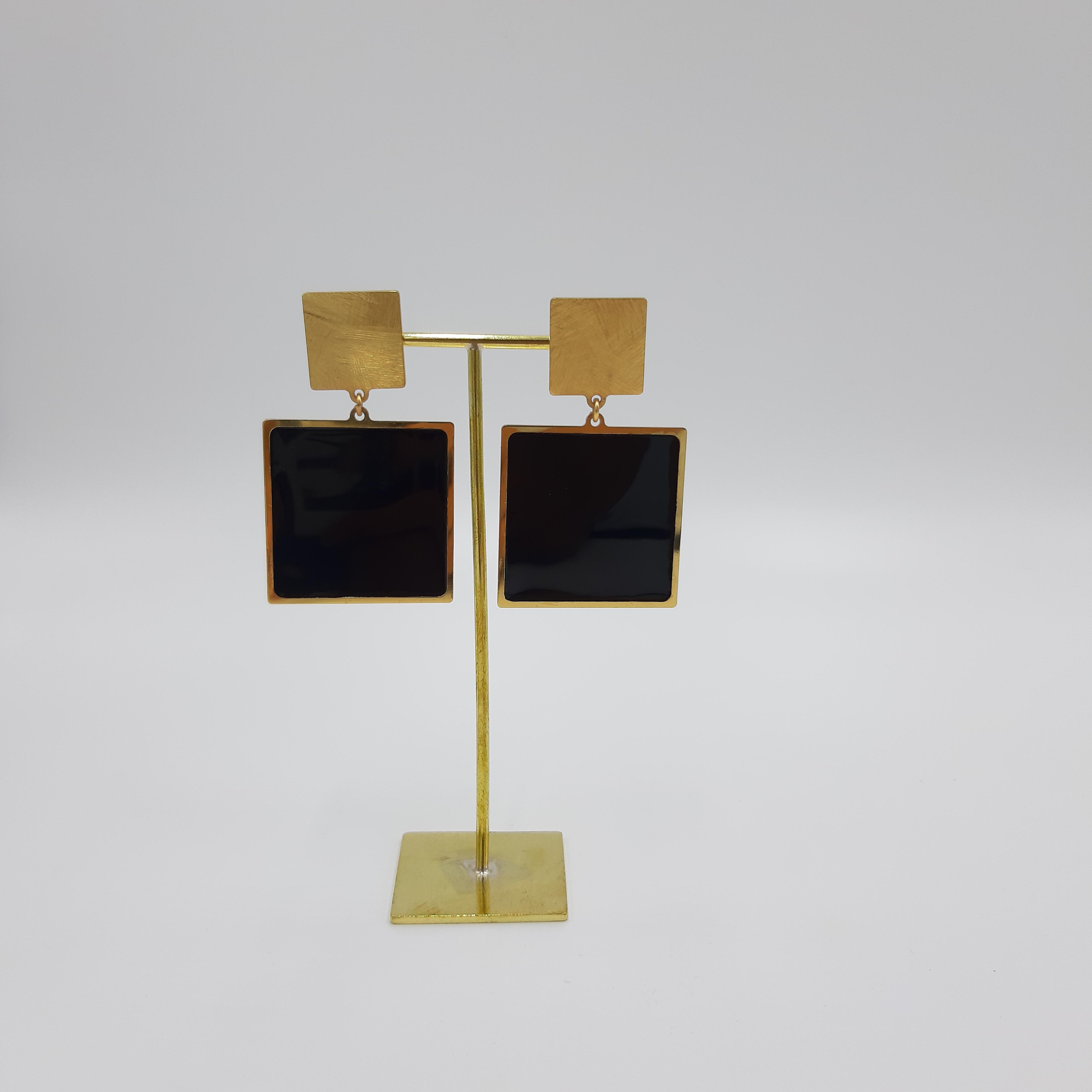 Orecchini quadrato neri Francesca Bianchi Design