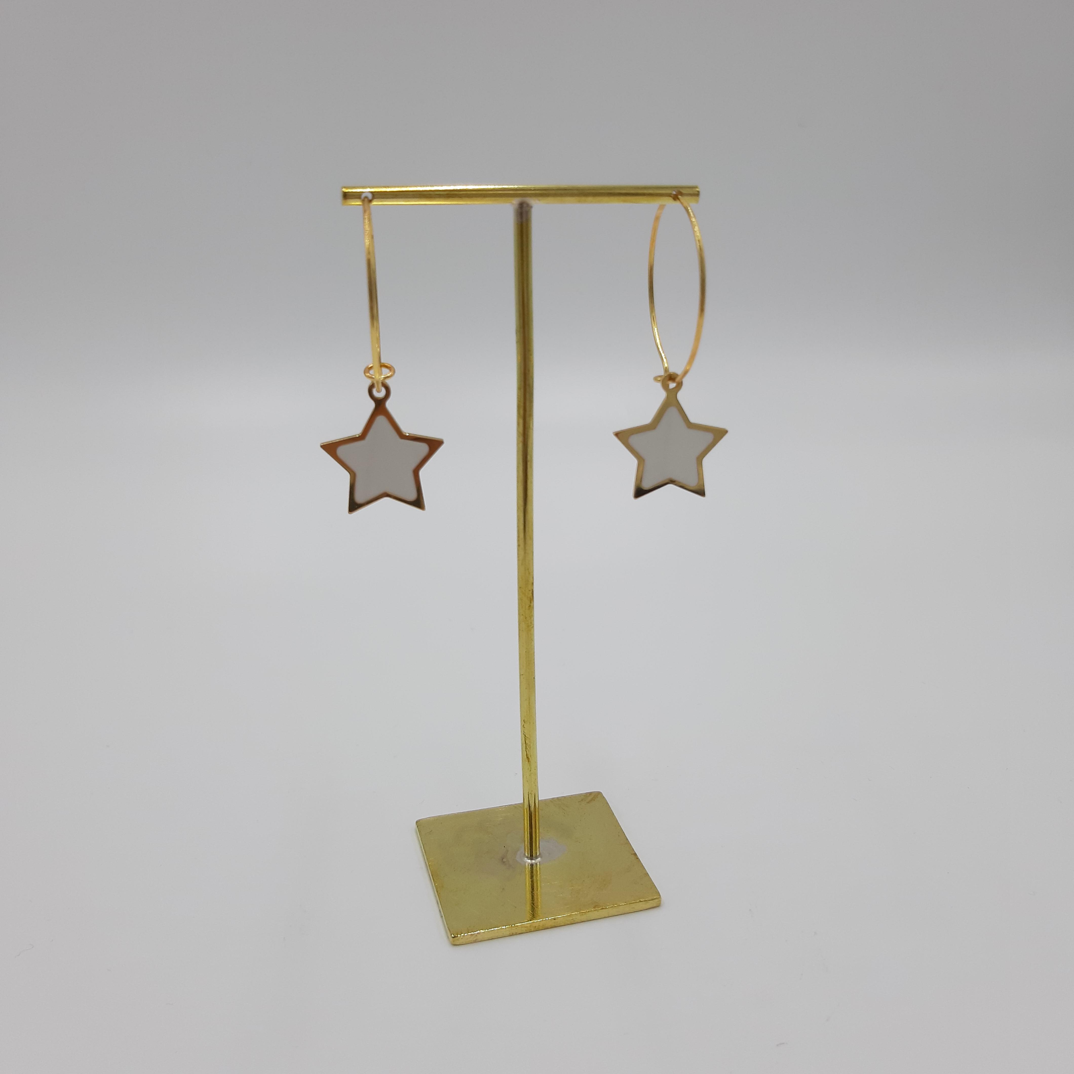 Orecchini pendente stella bianca Francesca Bianchi Design
