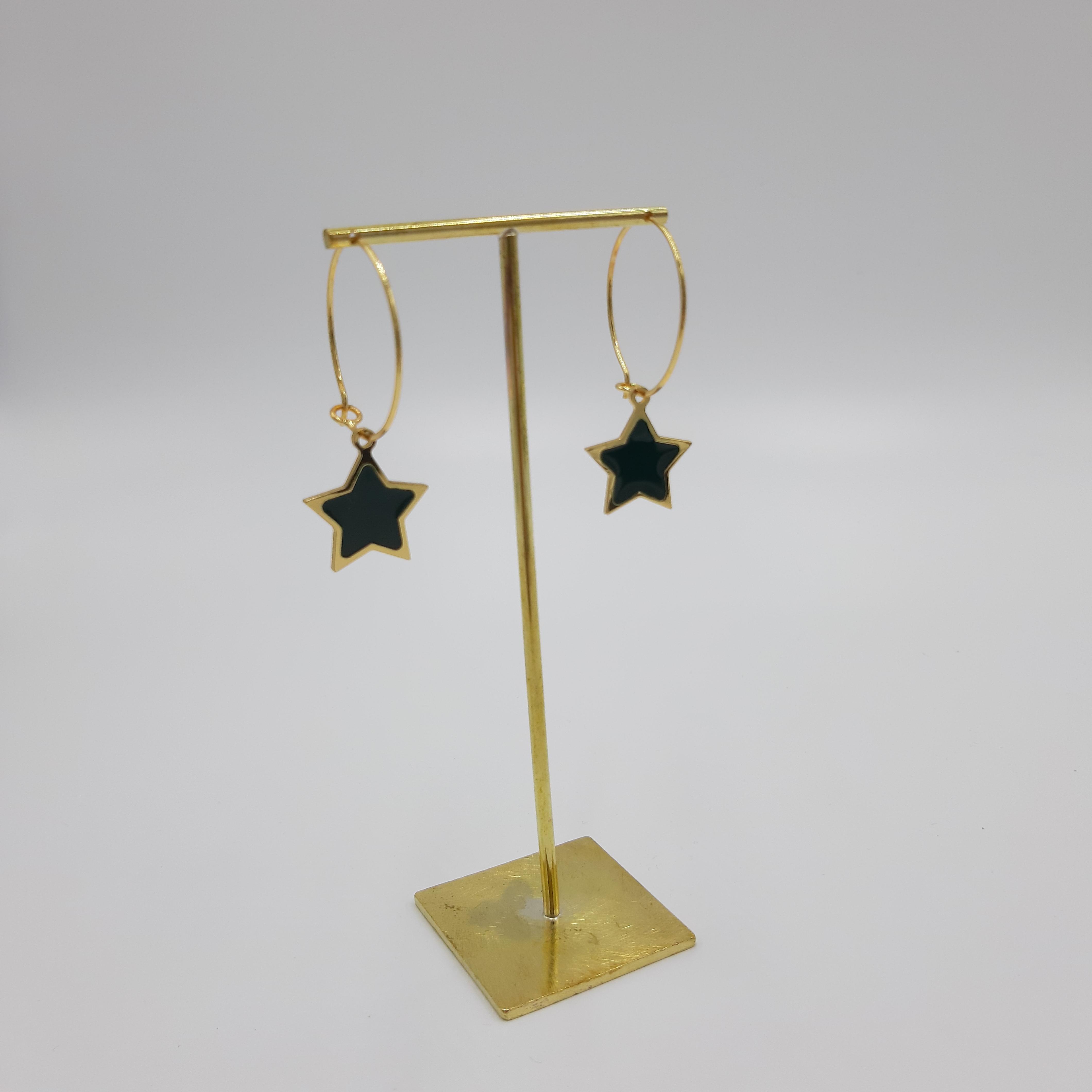 Orecchini pendente stella nera Francesca Bianchi Design
