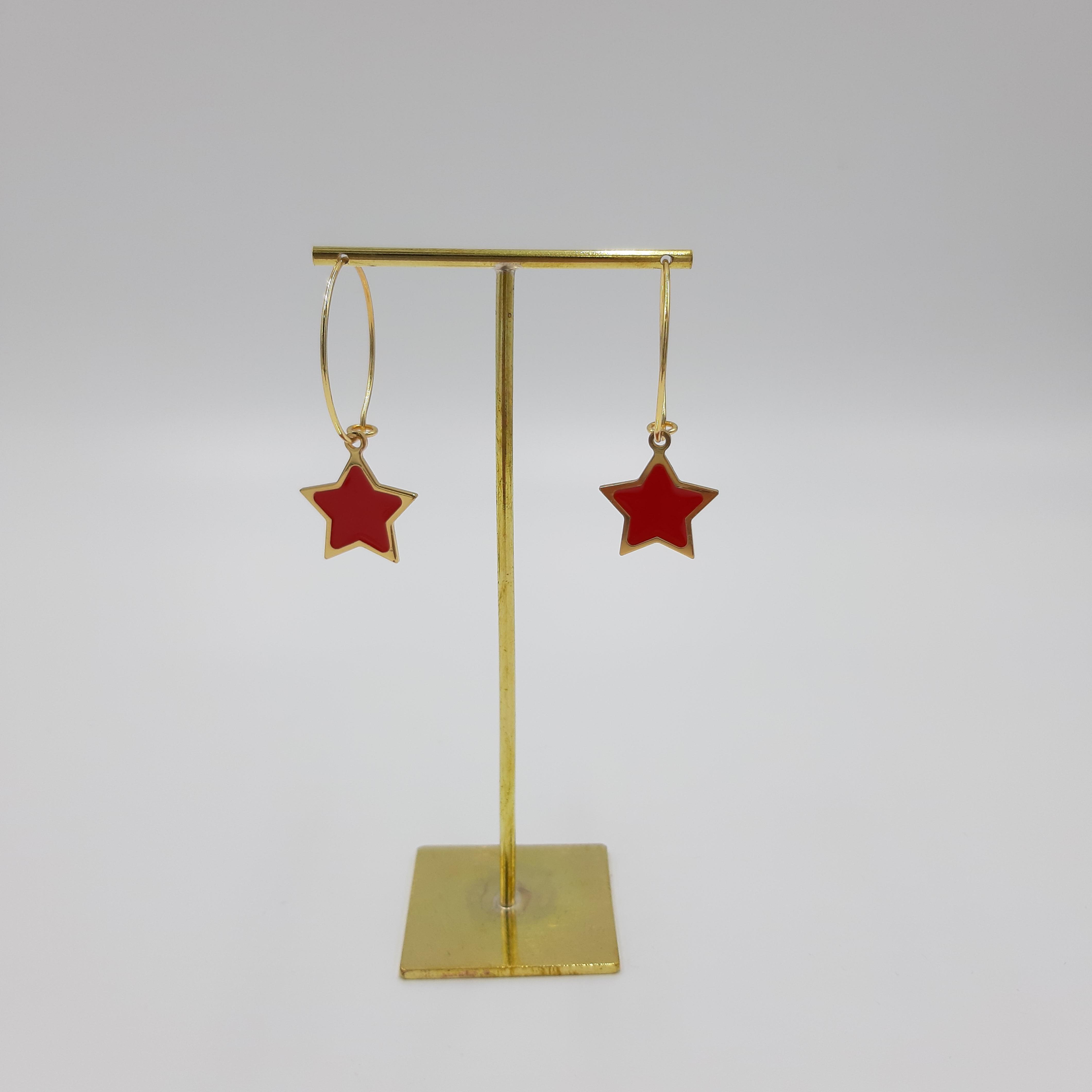Orecchini pendente stella rossa Francesca Bianchi Design