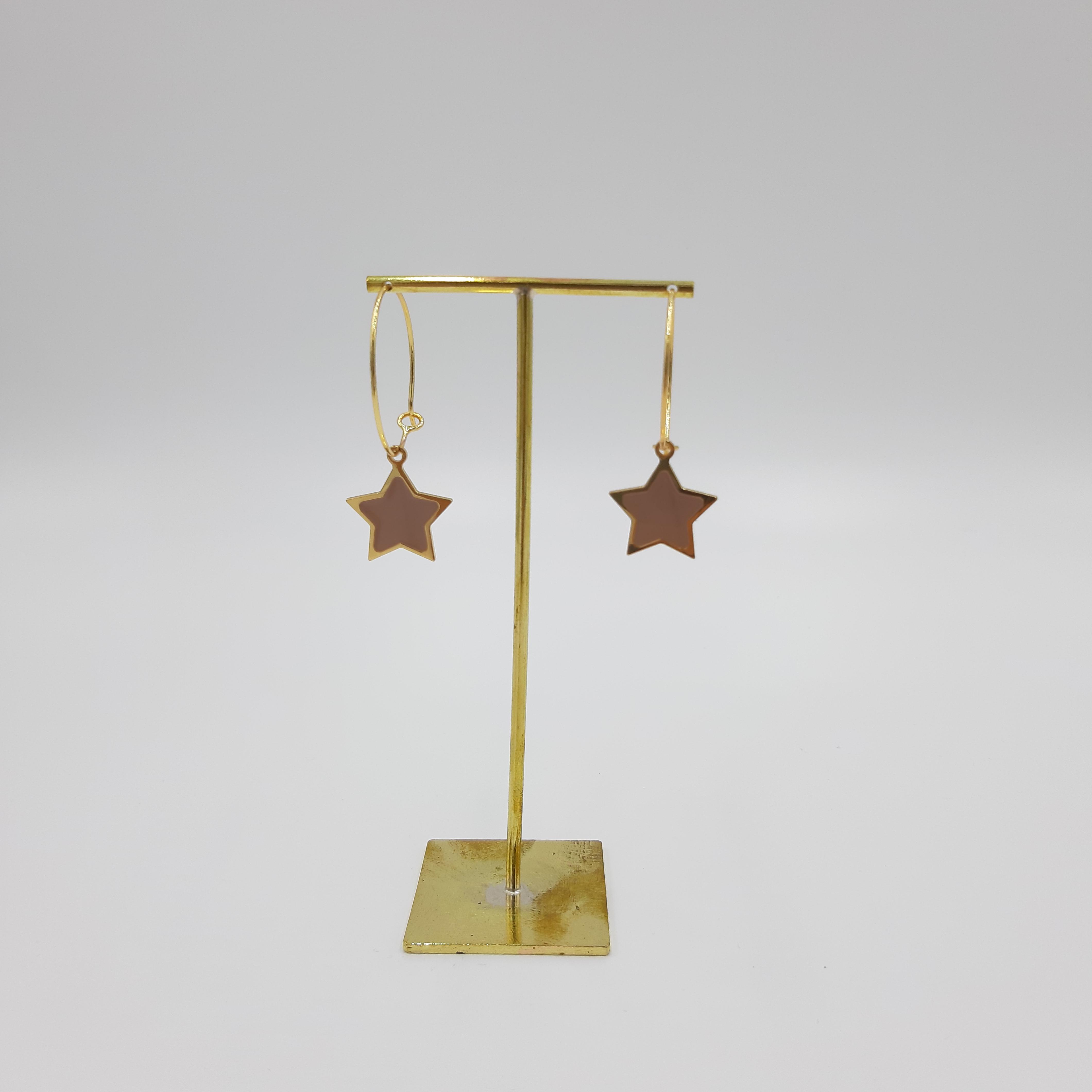 Orecchini pendente stella rosa Francesca Bianchi Design