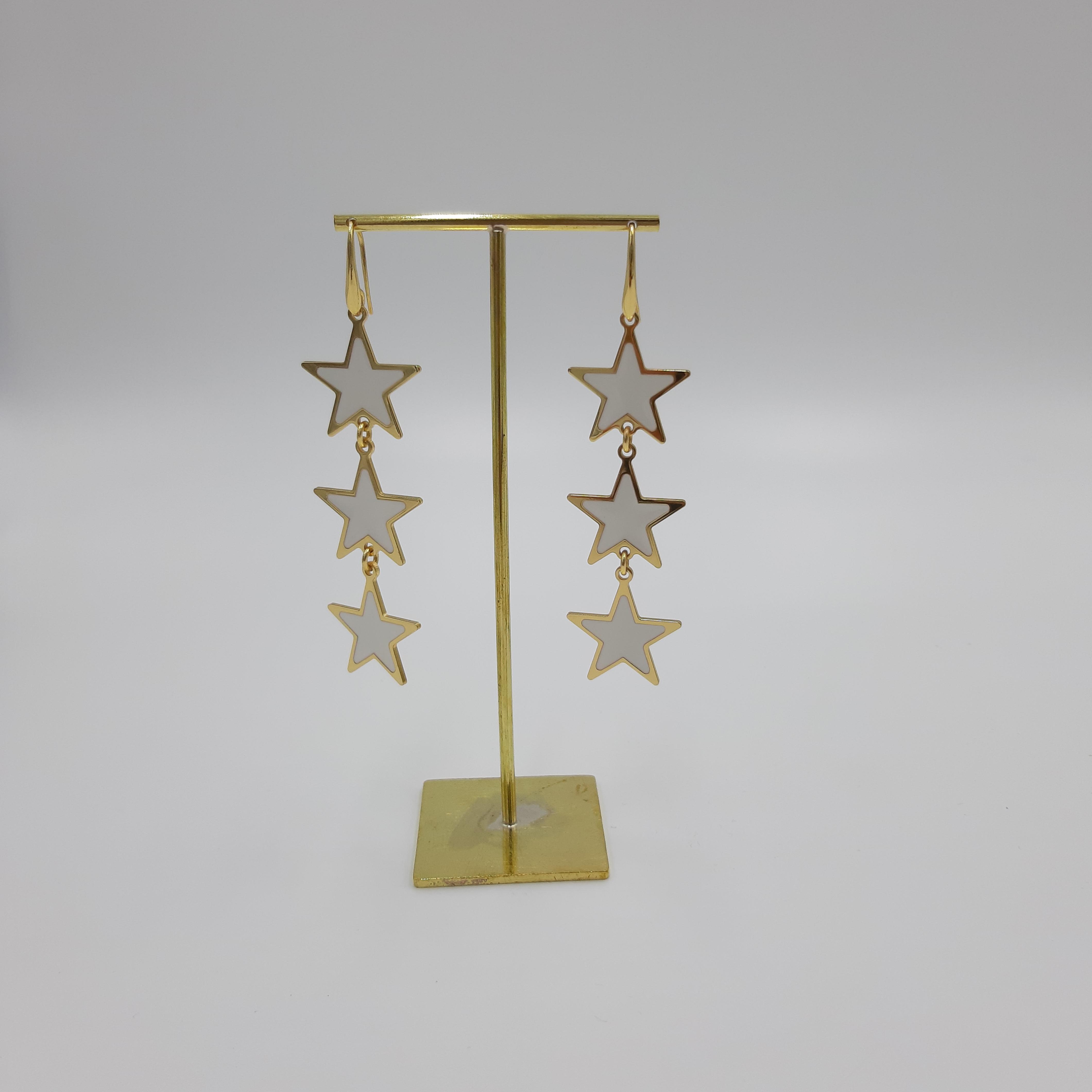 Orecchini pendenti stella bianchi Francesca Bianchi Design