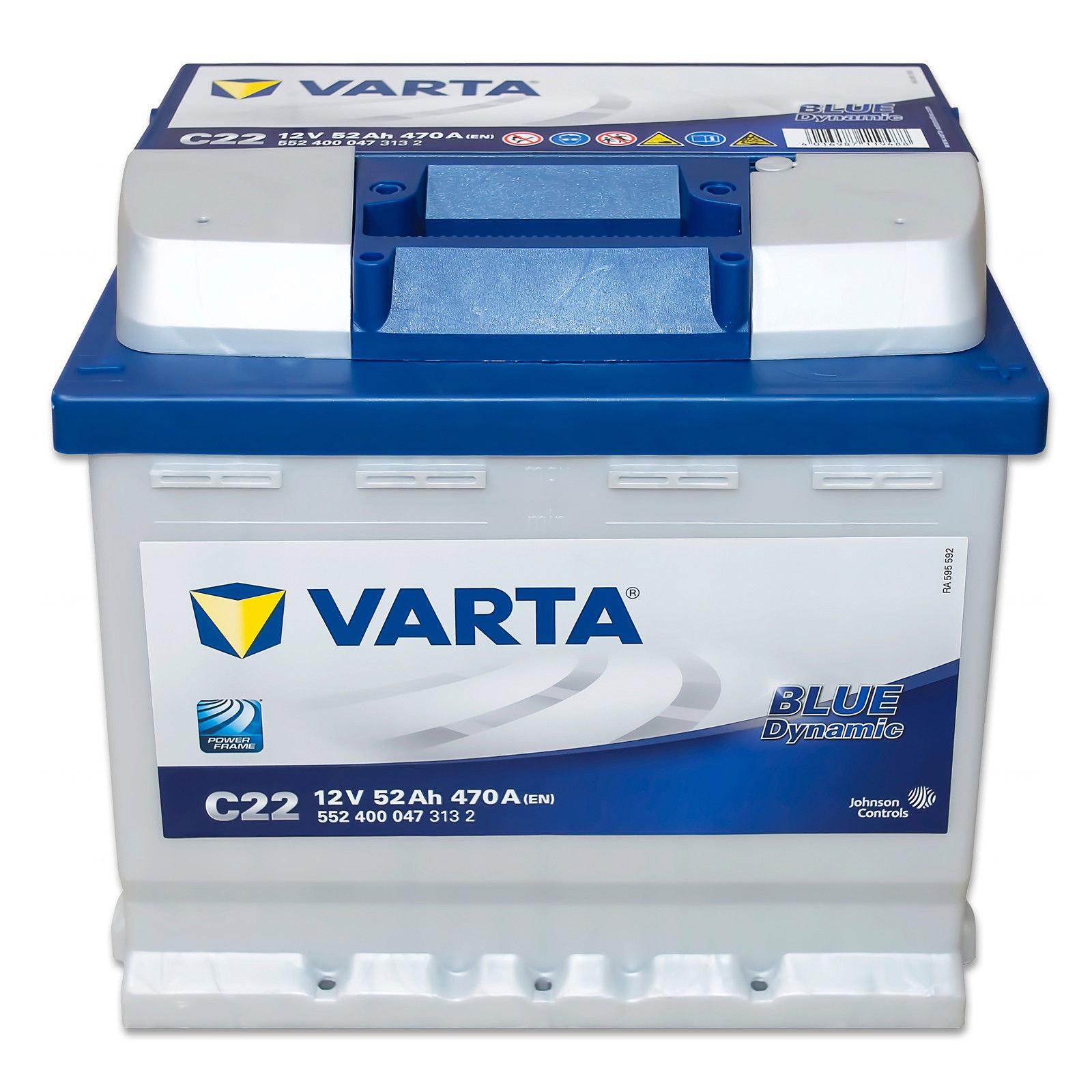 BATTERIA AUTO ORIGINALE VARTA 52 Ah 470A 12V 552400047