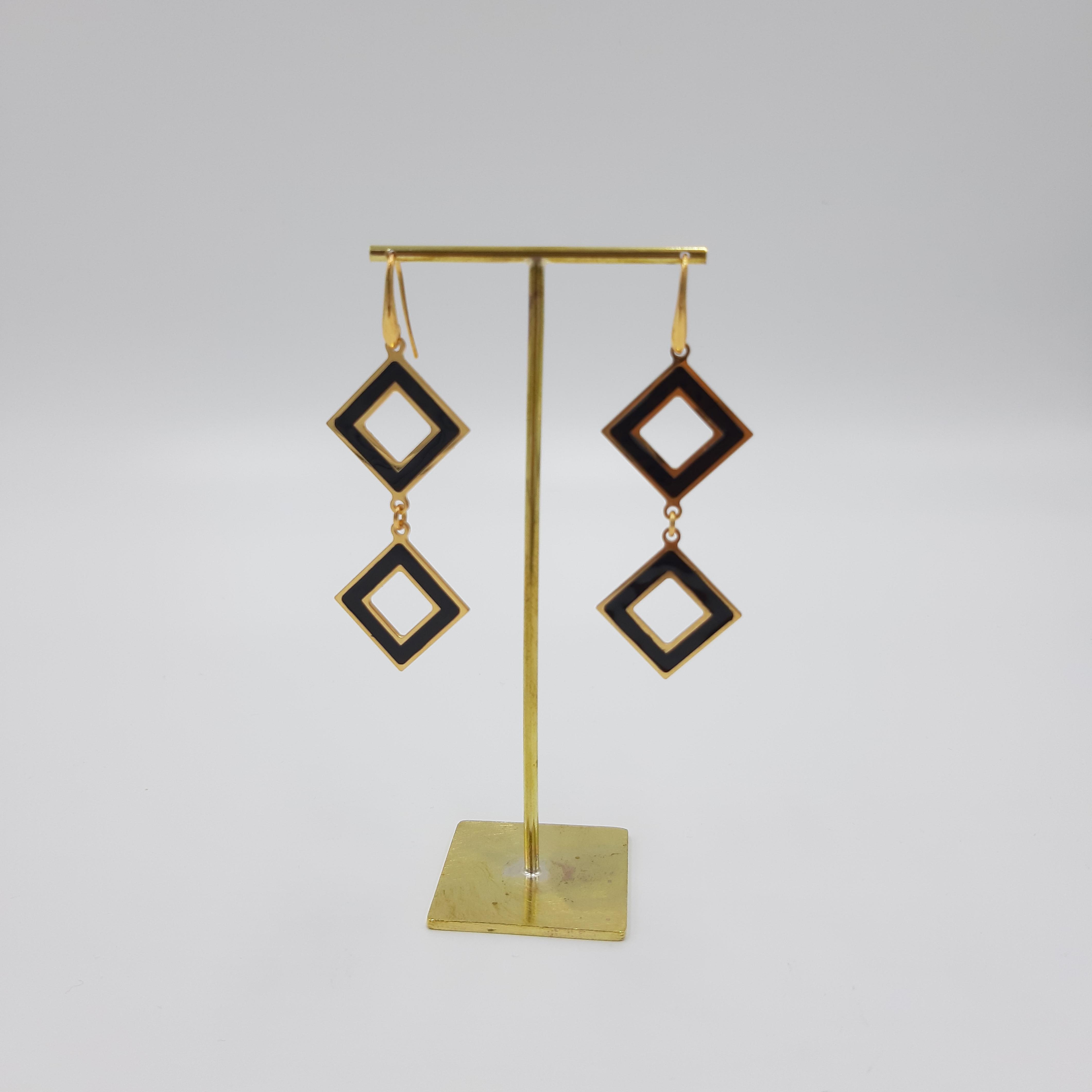 Orecchini pendente rombo nero Francesca Bianchi Design