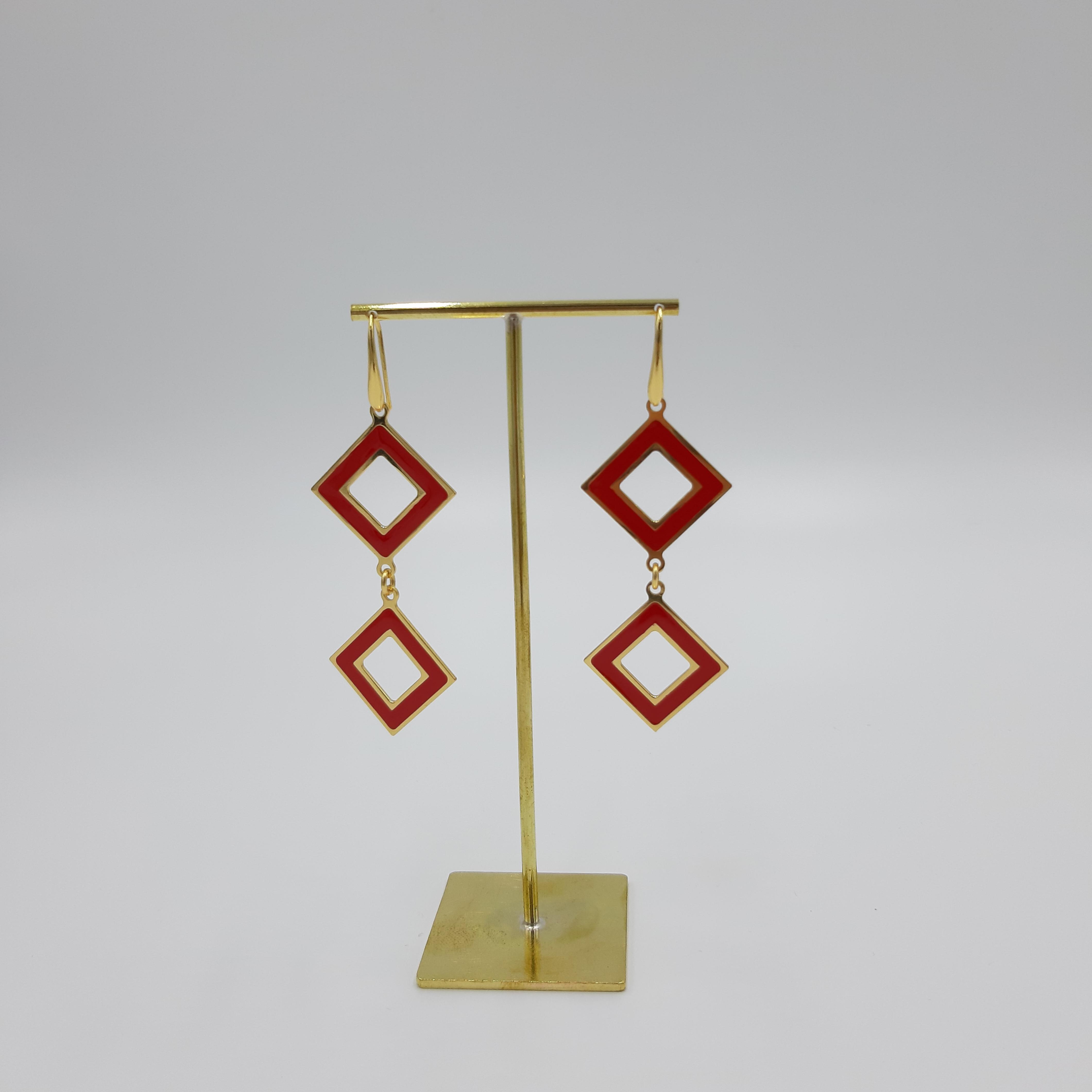 Orecchini pendente rombo rosso Francesca Bianchi Design