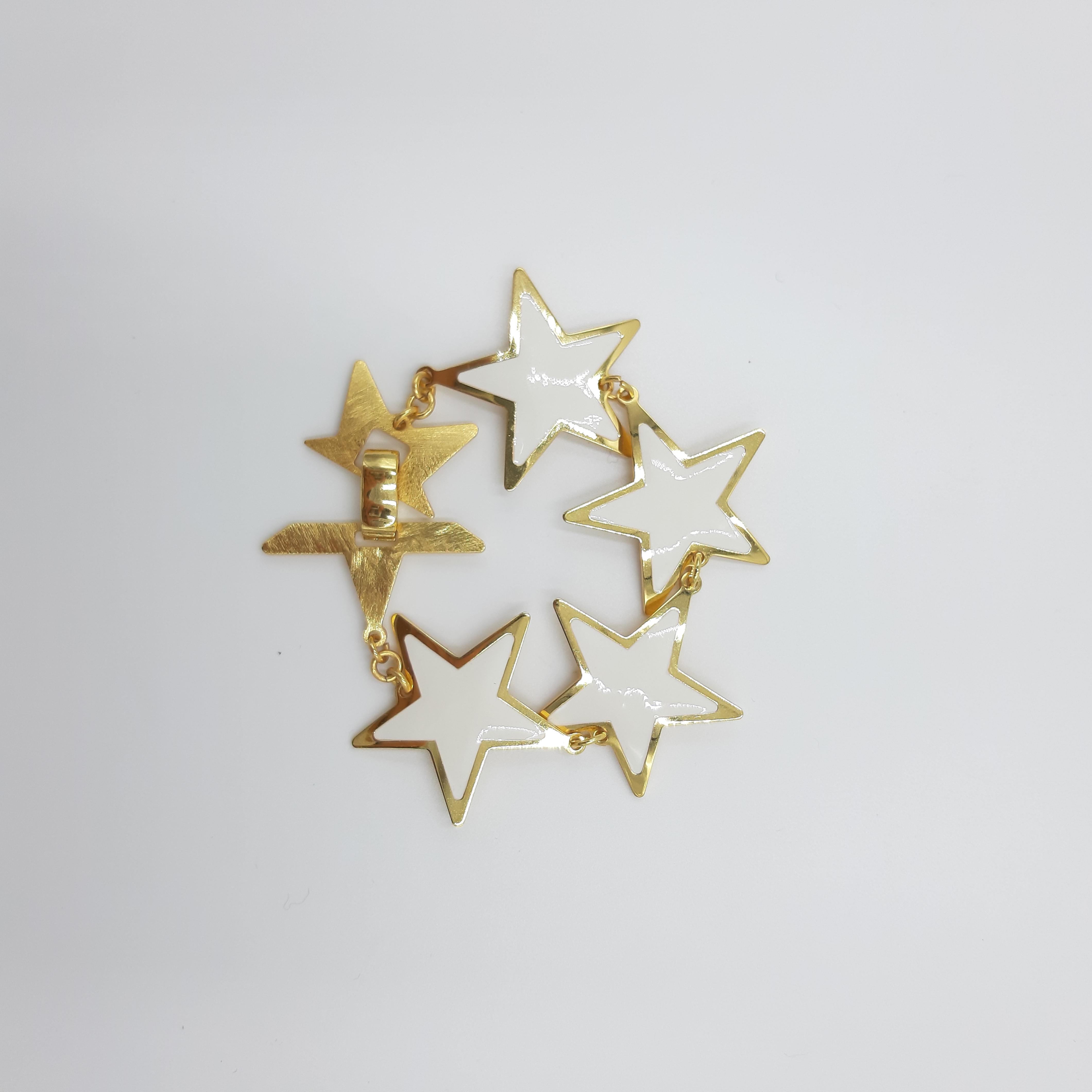 Bracciale oro con stelle bianche Francesca Bianchi Design