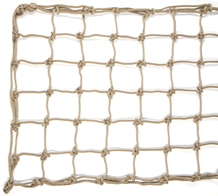 Polyester climbing net, natural rope effect