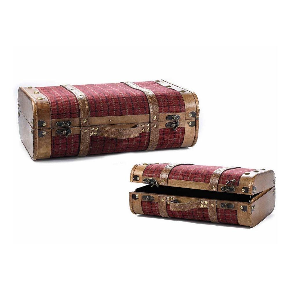 Set 2 valigie in legno e stoffa da arredamento
