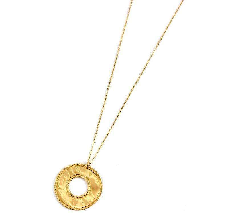 Marlù Collana Vision, pendente tondo Gold - Ø 3 cm