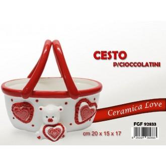 FGF Cesto Per Cioccolatini In Ceramica Rosso e Bianco Colorato Romantico Per Regalo di San Valentino