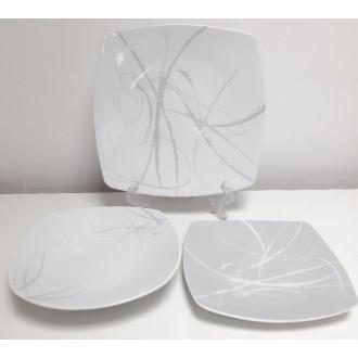 Confezione Servizio di Piatti 19 Pezzi Coordinati Colore Bianco Con Sfumature Grigie Modello Ikela Grey