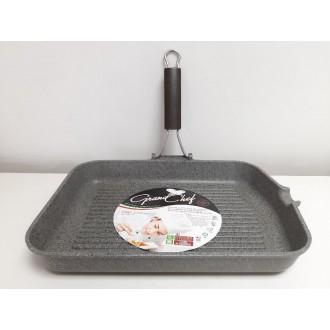 Bistecchiera Grill Piastra 24x36 cm Con Manico Pieghevole Casa