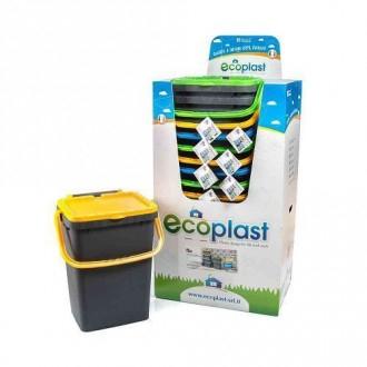 Pattumiera Ecoplus Capacità 35 Litri Colorato In Plastica con Coperchio Giallo Indifferenziata Casa