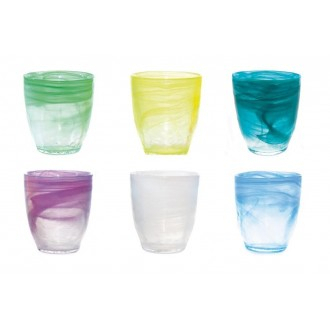 Set 6 Bicchieri Linea Alabaster Colori Assortiti Sfumati Bicchiere Da Acqua Per La Tavola Decorati In Vetro Casa Qualità