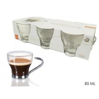 Confezione 6 Tazzine Da Caffè Espressino Trasparenti Con Manico In Acciaio Per Caffè Espresso Casa Cucina