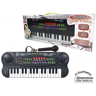 General Trade Pianola Suoni Con Microfono Per Cantare e Suonare Pianola Per Imparare Nero Giocattolo Bambini