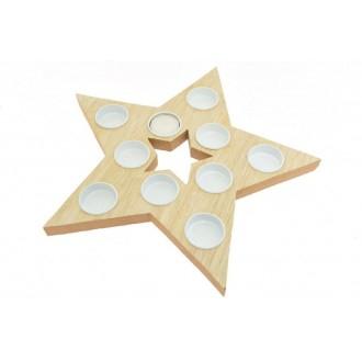 Centrotavola con 10 Portacandele Tealight forma Stella cm 33x32