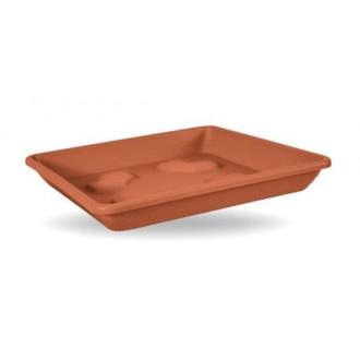 Sottovaso Quadrato Colore Terracotta 42 cm Per Vaso Da Giardino In Plastica Resistente