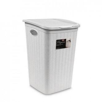 Stefanplast Elegance Porta Biancheria 50 Litri Bianco In Plastica Bianca Intrecciato Casa