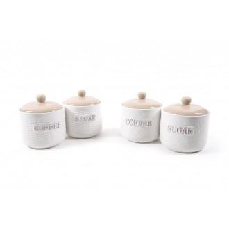 Mercury Coppia di Barattoli Country 2pz Porcellana per la Cucina Sale Zucchero Caffè Contenitori per la Casa