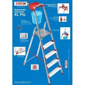 Scala Alluminio XL 8 Gradini con Porta Oggetti