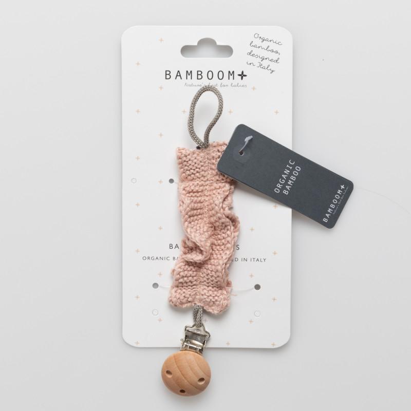 Portaciuccio con clip in legno Bamboom Rosa