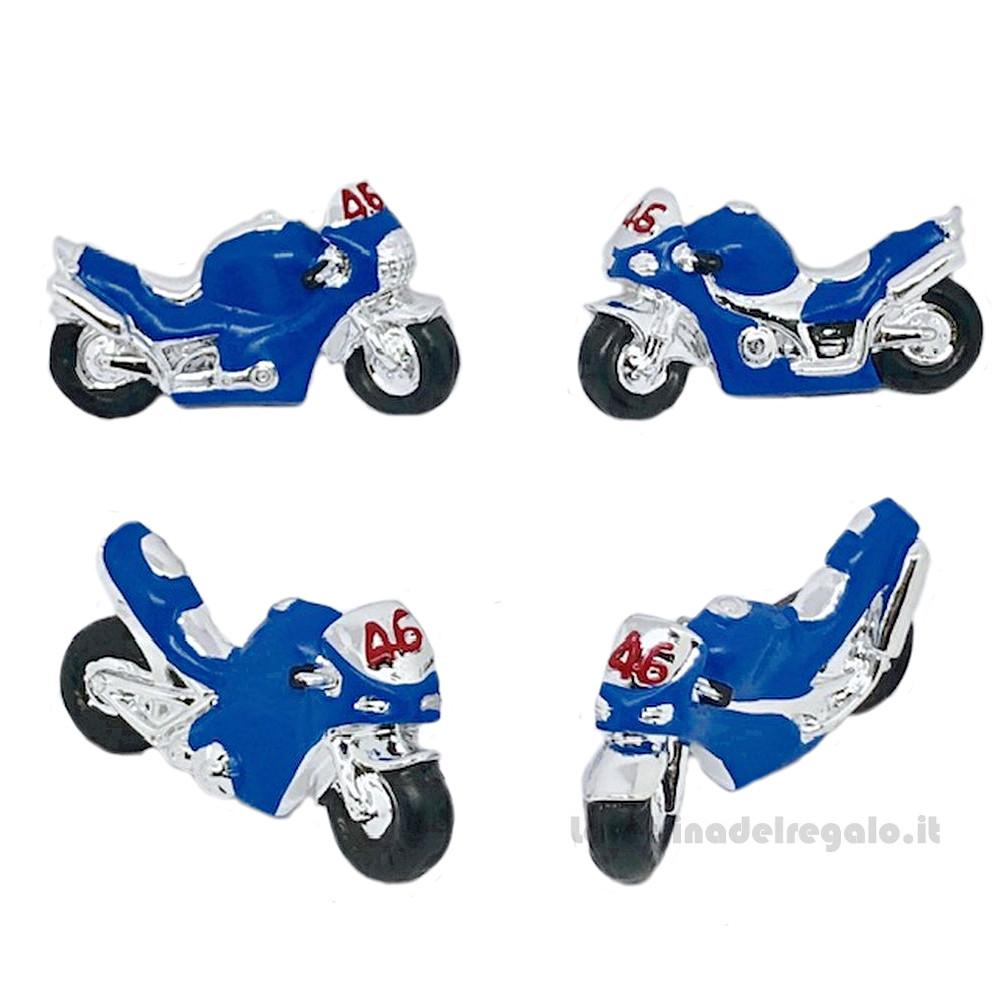 Magnete Moto Blu numero 46 in resina 7.5x4.5 cm - Bomboniera comunione bimbo
