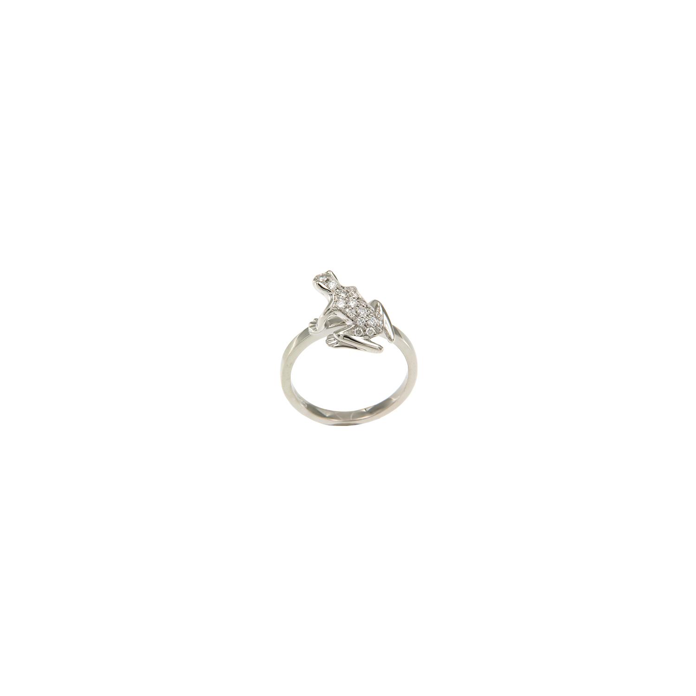 Anello Kissing Frog in oro bianco e diamanti