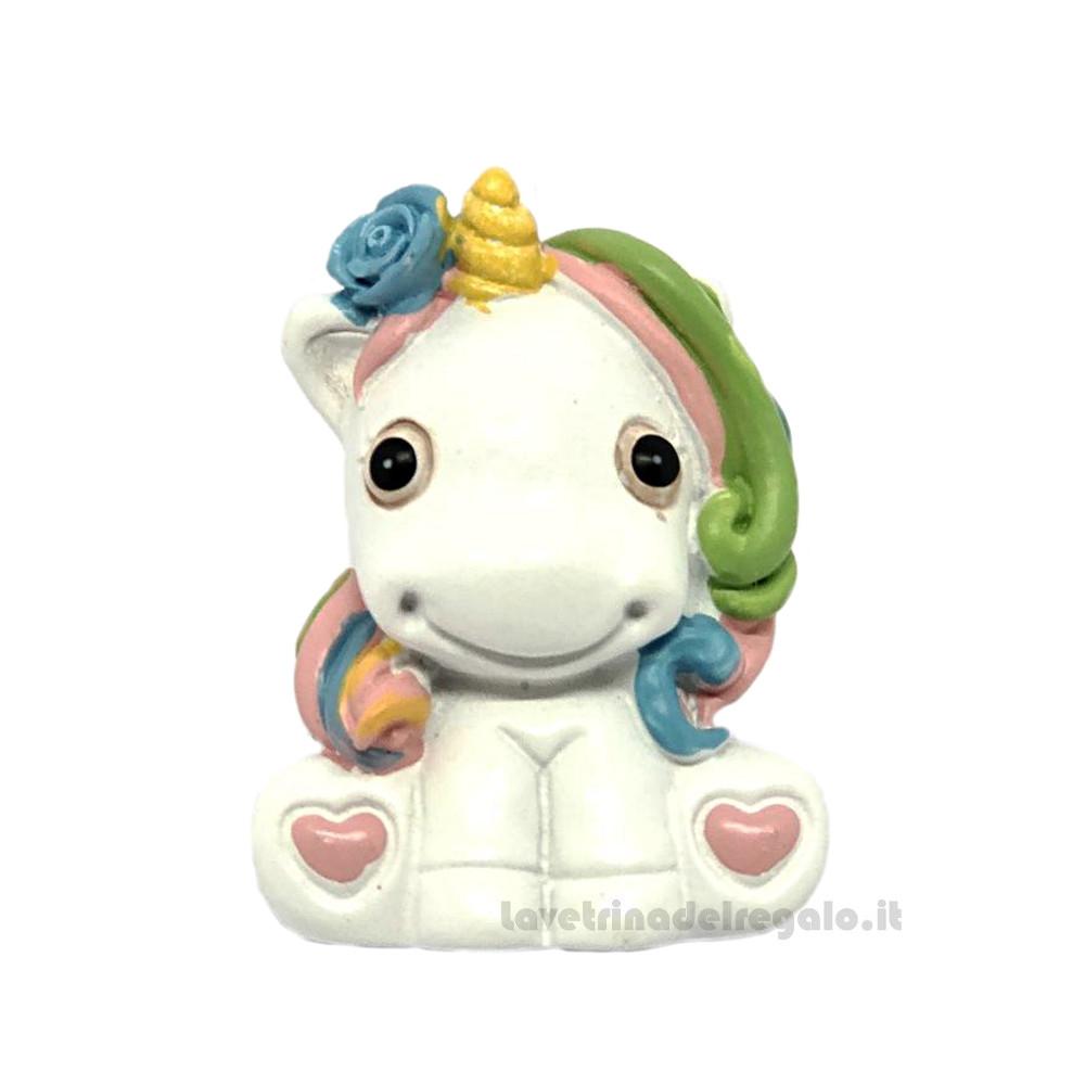 Magnete Unicorno arcobaleno in resina 5 cm - Bomboniera battesimo e comunione