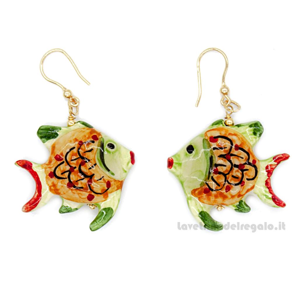 Orecchini pesci verdi in ceramica di Caltagirone - Gioielli Siciliani