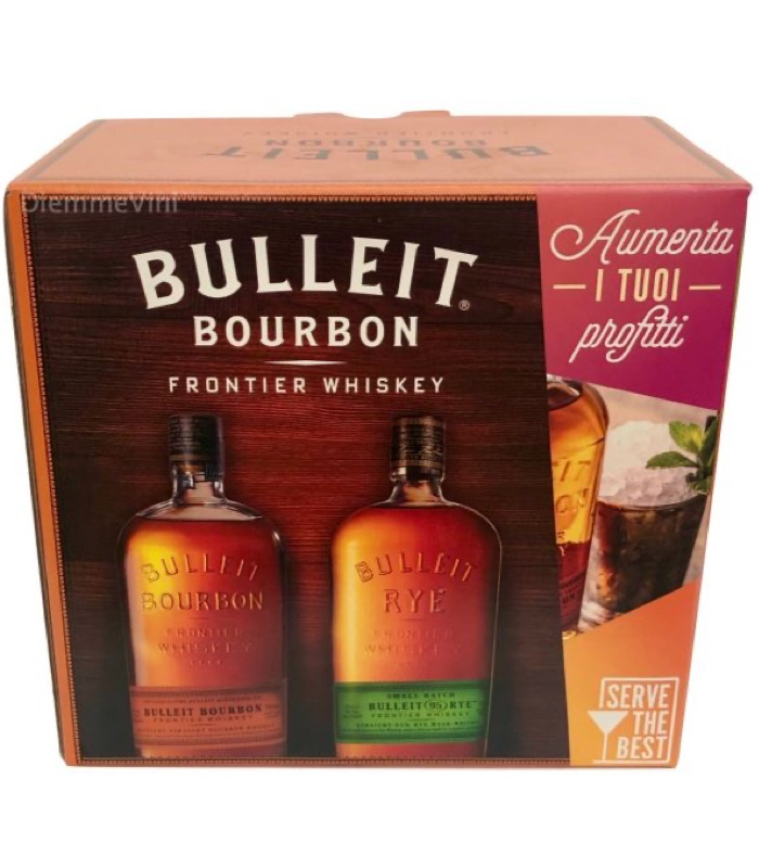 Whiskey Bulleit Bourbon kit 2 Bott. + 4 Bicch. + Menu