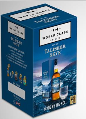 Whisky Talisker skye conf. 2 bott. Cl.70 + 4 bicchieri. + 10 menu'