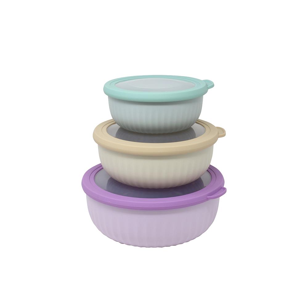 Set 3 Contenitori Ermetici Colorati in Plastica
